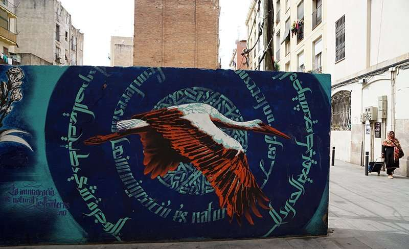 bird street art barcelona