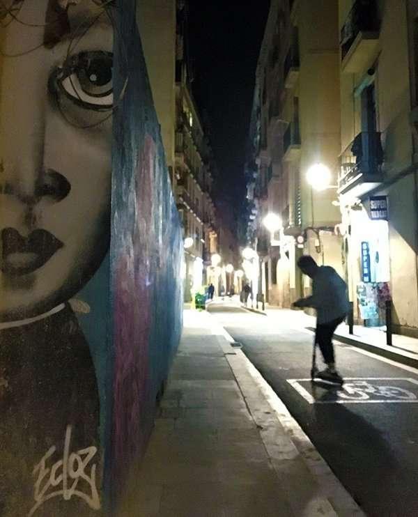 young girls face street art barcelona
