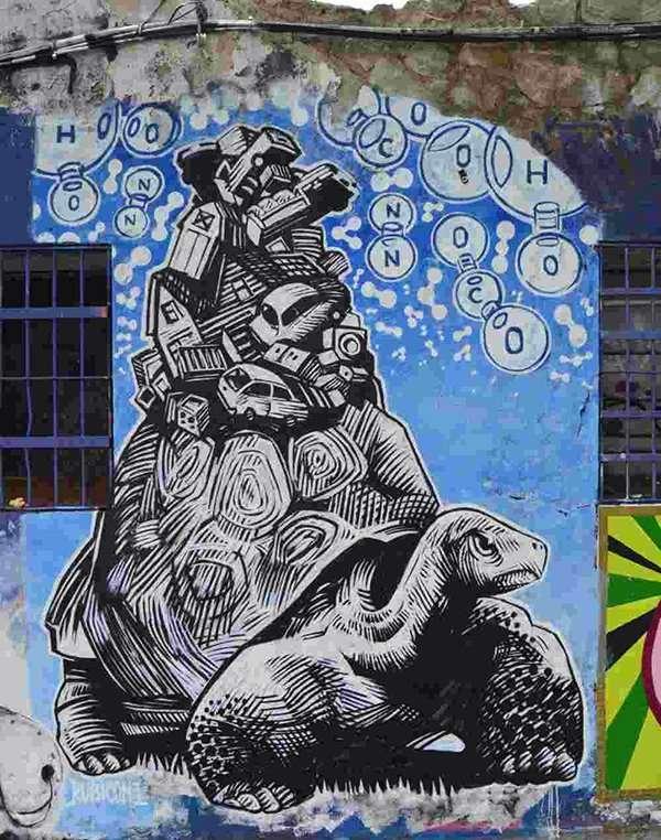 Tortoise street art barcelona