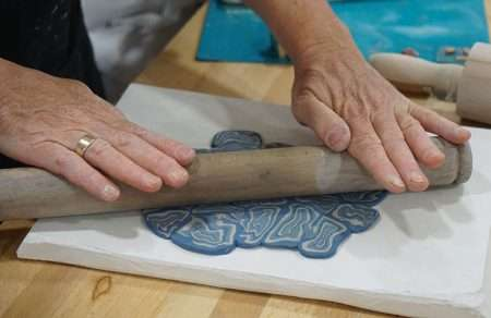 nerikomi workship in barcelona rolling colored clay slabs