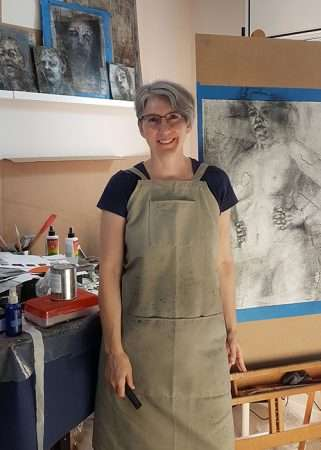 Artist Anne Kearney in the studio