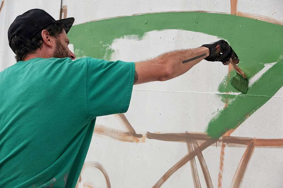 mural painting in process barcelona